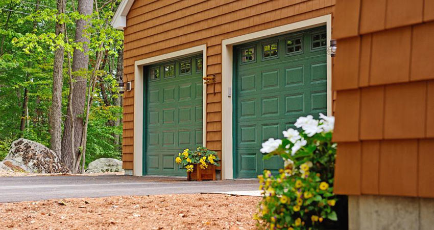 Raised-Panel green garage door